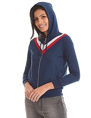 Flying Machine Women Hooded Contrast Panel Sweatshirt