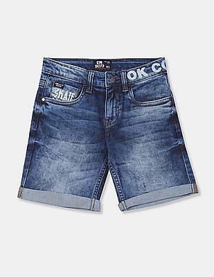 FM Boys Blue Acid Wash Denim Shorts