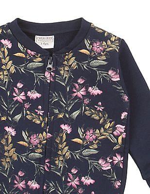 Cherokee Girls Printed Front Zip-Up Jacket