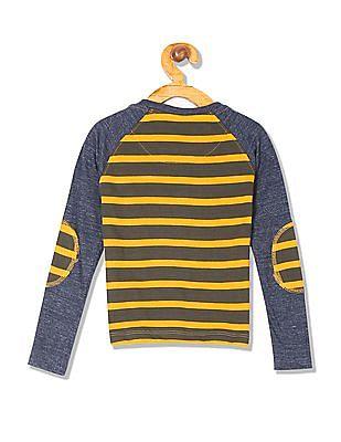 Cherokee Boys Henley Neck Striped T-Shirt