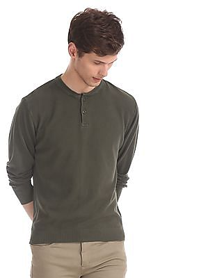Flying Machine Green Henley Neck Textured Sweater