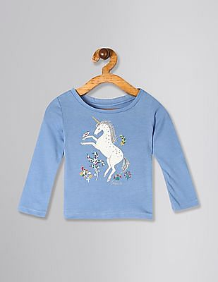 GAP Blue Toddler Girl Graphic Long Sleeve T-Shirt