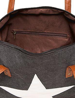 Cherokee Star Applique Canvas Tote Bag