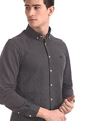 Arrow Sports Grey French Placket Printed Shirt