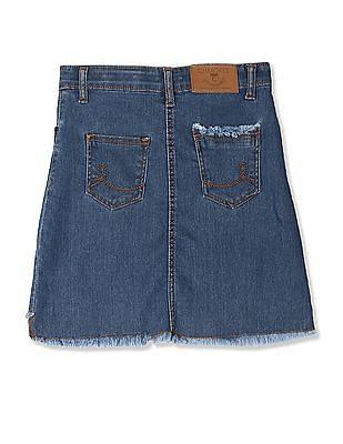 Cherokee Blue Girls Frayed Hem Denim Skirt