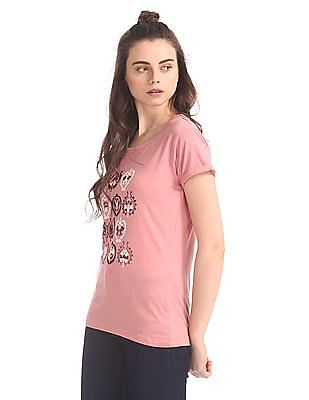 Cherokee Printed Upturned Cuffs T-Shirt