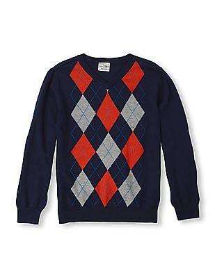 The Children's Place Boys Argyle Knit V-Neck Sweater