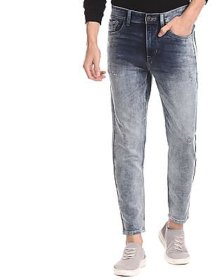 Flying Machine Blue Mankle Slim Fit Faded Jeans