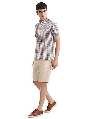 Arrow Sports Regular Fit Linen Blend Shorts