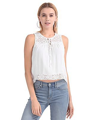 Aeropostale Lace Insert Crinkled Top