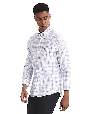 U.S. Polo Assn. White Button Down Collar Check Shirt