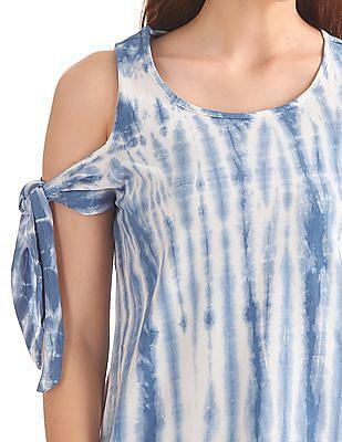Flying Machine Women Tie Dye Cold Shoulder Top