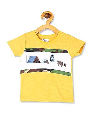 Donuts Yellow Boys Cut And Sew Panel Graphic T-Shirt