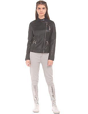 EdHardy Women Asymmetric Zipper Panelled Jacket