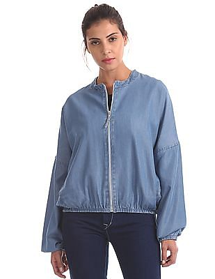 Flying Machine Women Chambray Zip Up Jacket