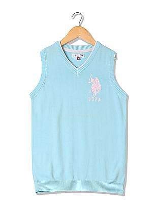 U.S. Polo Assn. Kids Girls Solid Sweater Vest