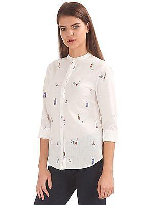 Nautica Mandarin Collar Printed Shirt