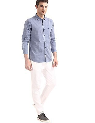 Roots by Ruggers Blue Mitered Cuff Printed Shirt