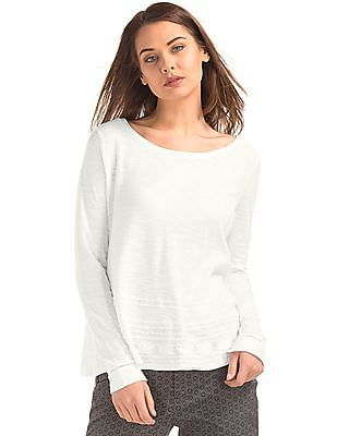 GAP Women White Embroidered Long Sleeve Swing Top