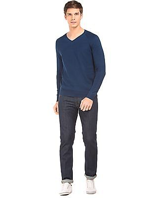 U.S. Polo Assn. Denim Co. Textured Front V-Neck Sweater