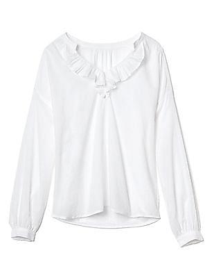 GAP Swiss Dot Ruffle V-Neck Shirt