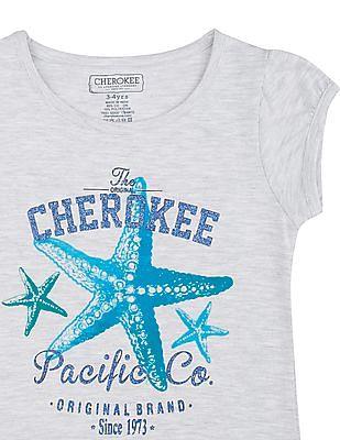 Cherokee Girls Star Fish Print Melange T-Shirt