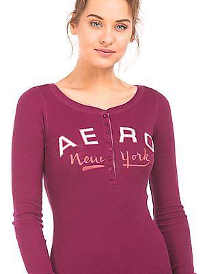 Aeropostale Appliqued Long Sleeve Henley T-Shirt