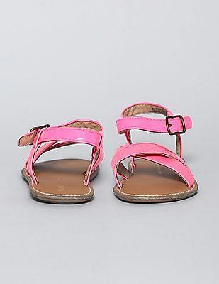 GAP Toddler Girl Pink Patent Cross Strap Sandals
