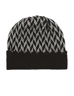 Unlimited Black And Grey Chevron Pattern Beanie