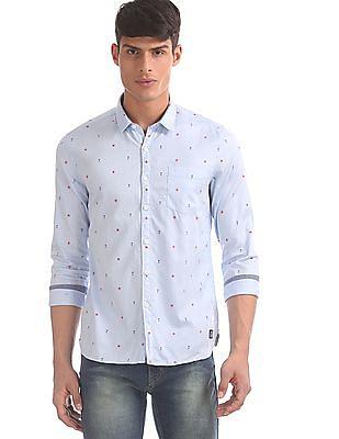 Flying Machine Blue Spread Collar Printed Shirt