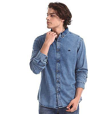 Aeropostale Blue Button Down Denim Shirt