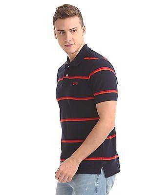 Aeropostale Ribbed Collar Striped Polo Shirt