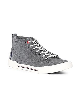 U.S. Polo Assn. Grey High Top Contrast Lace Sneakers