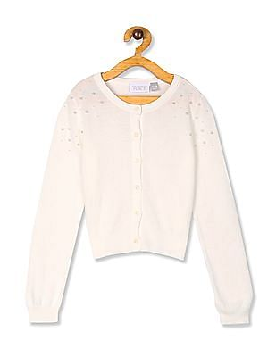 The Children's Place Girls White Pearl Embellished Knit Cardigan