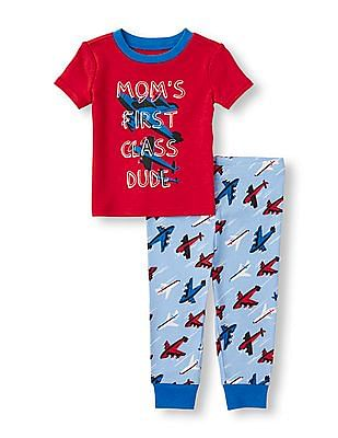 The Children's Place Baby Boys Short Sleeve 'Mom's First Class Dude' Top And Airplane Print PJ Set