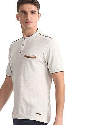 Cherokee Beige Mandarin Collar Pique Polo Shirt