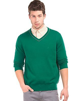 Nautica V-Neck Wool Sweater