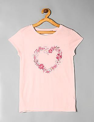 GAP Pink Girls Short Sleeve Printed T-Shirt