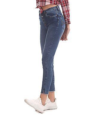 Aeropostale High Waist Raw Hem Jeans