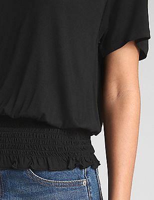 GAP Short Sleeve Smocked Hem Top