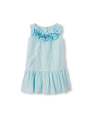 The Children's Place Toddler Girl Sleeveless 3D Flower Neck Flounce Dress
