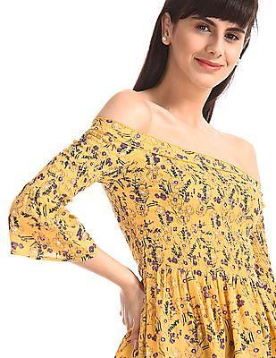 SUGR Yellow Off Shoulder Peplum Top