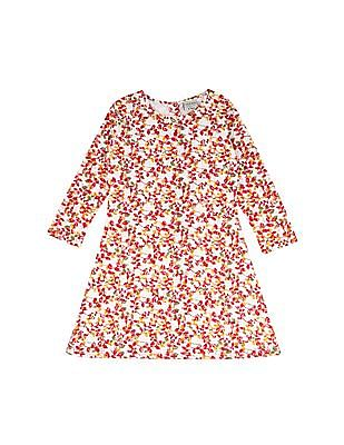 Cherokee Girls Floral Print Lace Dress