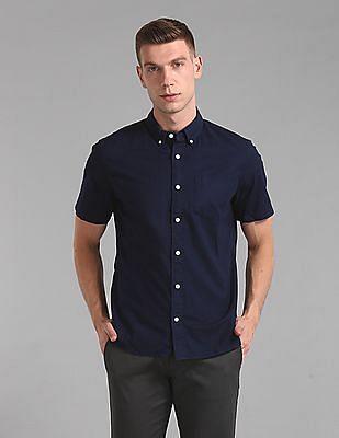 GAP Men Blue Lived-In Stretch Oxford Short Sleeve Shirt