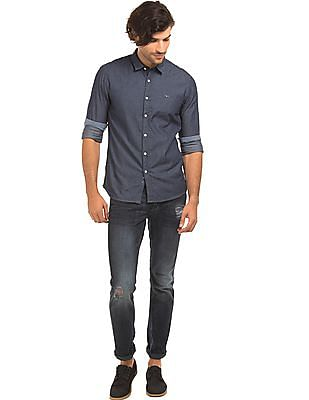 Flying Machine Printed Chambray Shirt