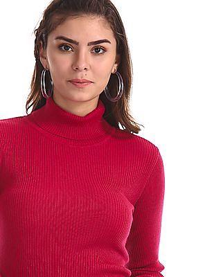 Cherokee Pink Turtleneck Rib Knit Sweater