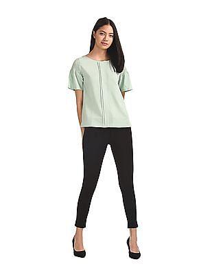 Elle Studio Green Smocked Sleeve Solid Top