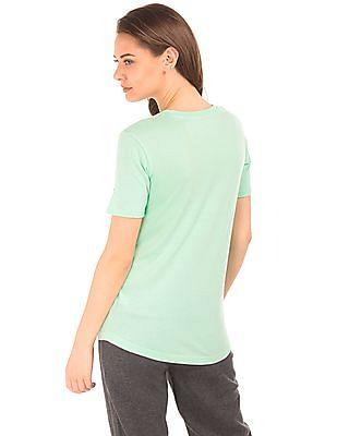 Aeropostale Curved Hem Appliqued T-Shirt