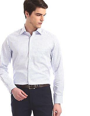 Arrow White Giza Cotton Check Shirt