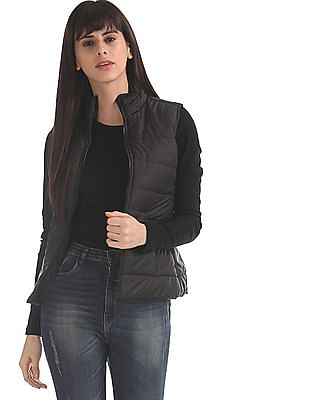 Flying Machine Women Black Solid Gilet Jacket